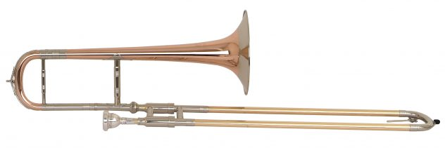 Helmut Voigt Markneukirchen - Eb Alto trombone (small) HV-A1 Red brass body, bell with medium wide nickel silver garland on rim, Alto crook with brace, gold brass outer slide, crooks with snake ornaments