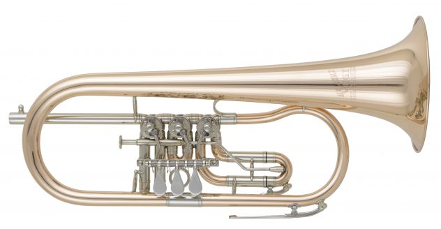 "Flugelhorn Helmut Voigt ""HV-F1"" gold brass with trigger and watery at 3rd valve slide"