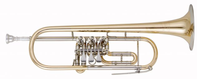 Helmut Voigt Bb Trumpet with rotor valves HV-TRB1 Bell gold brass with nickel silver garland, nickel silver slides, waterkey at the main tuning slide, optional at the 3rd valve slide, optional: high keys (Vienna key)