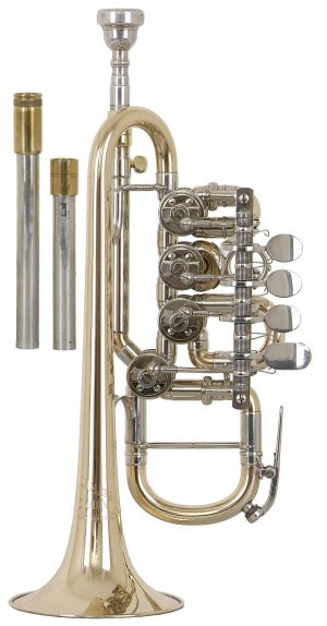 Helmut Voigt Piccolo trumpet HV-TRHB1 Gold brass, with 4 valves, waterkey at the 4th valve tuning slide, incl. two changeable Bb lead pipes and one A lead pipe