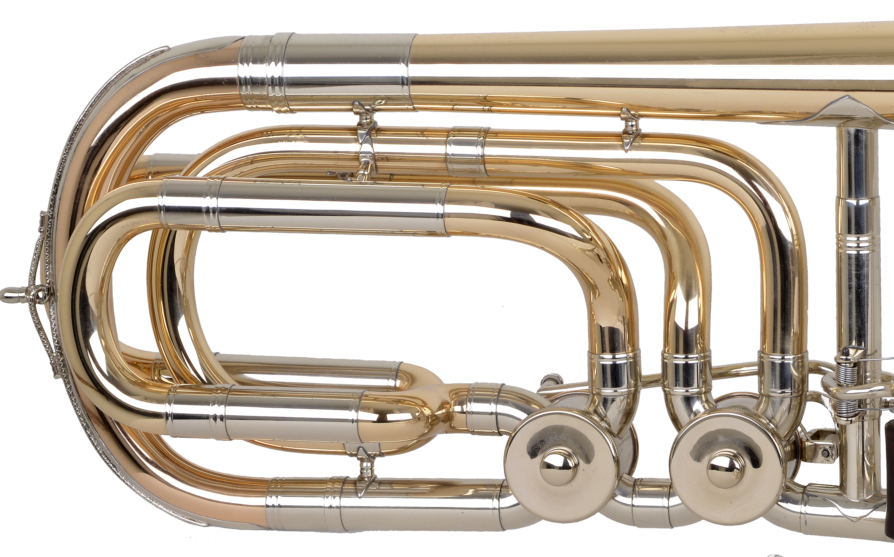 Bass trombone, open-flow valves, traditional wrap